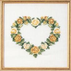Набор для вышивания Сердце из желтых роз