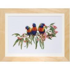 Набор для вышивания Стайка попугаев, канва лён 32 ct