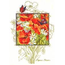 Набор для вышивания, подушка Маки и бабочки