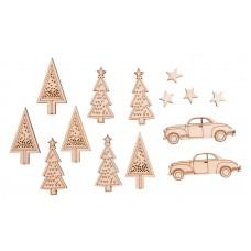 Набор декоративных элементов Автомобили, елки, звезды...