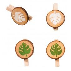 Декоративные прищепки со спилом из дерева и мотивами из листиков