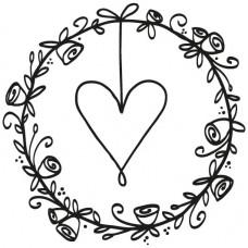 Штамп на деревянной основе Свадебный венок, 5 х 5 см