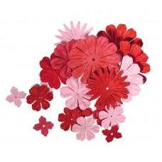 Набор декоративных цветов с отверстием под брадс  из бумаги