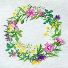 Набор для вышивания Полевые цветы (может использоваться для создания подушки)