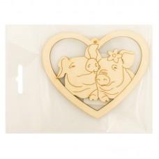 Деревянная фигурка Свинки в сердце № 2