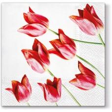 Салфетки трехслойные для декупажа, коллекция Lunch PAWDecorCollection Красные тюльпаны