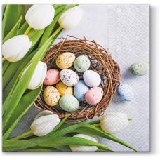 Салфетки трехслойные для декупажа, коллекция Lunch PAWDecorCollection Тюльпаны и яйца