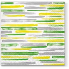 Салфетки трехслойные для декупажа, коллекция Lunch PAWDecorCollection Акварельные полосы (зеле