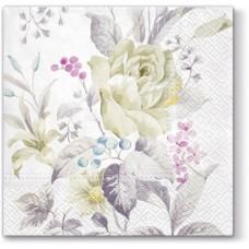 Салфетки трехслойные для декупажа, коллекция Lunch PAWDecorCollection Белые розы