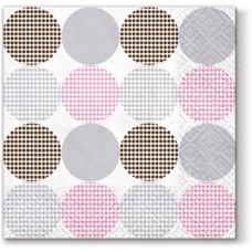 Салфетки трехслойные для декупажа, коллекция Lunch PAWDecorCollection Точки (розовые)