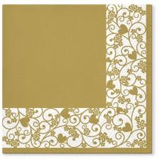 Салфетки трехслойные для декупажа, коллекция Lunch TETЕaTETE Шикарная рамка (золото)