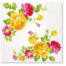 Салфетки трехслойные для декупажа, коллекция Lunch TETЕaTETE Композиция из желтых роз