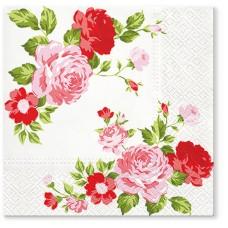 Салфетки трехслойные для декупажа, коллекция Lunch TETЕaTETE Композиция из розовых роз