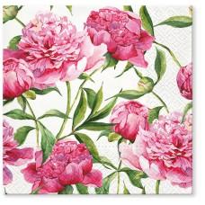Салфетки трехслойные для декупажа, коллекция Lunch TETЕaTETE Розовые пионы