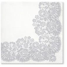 Салфетки трехслойные для декупажа, коллекция Lunch TETЕaTETE Кружевная рамка (серебро)