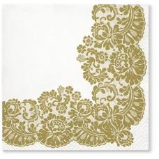 Салфетки трехслойные для декупажа, коллекция Lunch TETЕaTETE Кружевная рамка (золото)