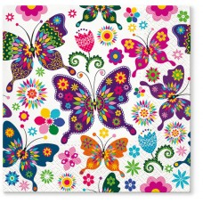 Салфетки трехслойные для декупажа, коллекция Lunch TETЕaTETE Красочные бабочки
