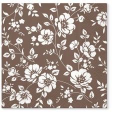 Салфетки трехслойные для декупажа, коллекция Lunch TETЕaTETE Орнамент из кустов (коричневый)