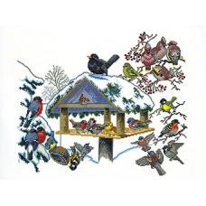 Набор для вышивания Птичья кормушка, лён 18 ct