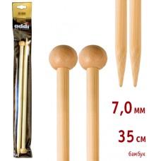 Спицы прямые, бамбук, №7, 35 см