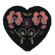 Термоаппликация Черное сердце с цветами