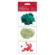 Набор декоративных элементов Листья и ягоды из фетра