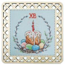 Набор для вышивания Пасхальный кулич с пришивной рамкой