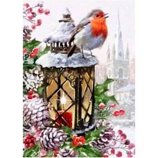 Картина стразами Снегирь на фонаре