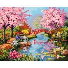 Картина стразами Мост в цветущем саду