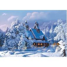 Картина стразами Избушка в зимнем лесу