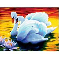 Картина стразами Лебеди