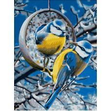 Картина стразами Синички зимой