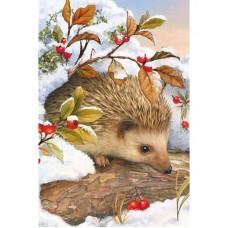 Картина стразами Ёжик в снегу