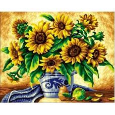 Картина стразами Желтые подсолнухи в синей вазе