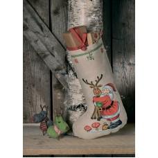 Набор для вышивания сапожка для подарков Санта и олень