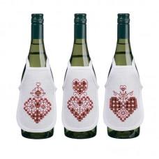 Набор для вышивания фартучков на бутылку в технике харгандер Красные сердечки
