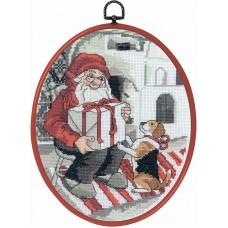 Набор для вышивания Санта и пёс