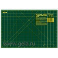 Мат раскройный двусторонний, толщина 1,6 мм, зеленый, 45 х 30 см/18 х 12