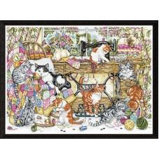 Набор для вышивания Котята, любящие шить