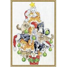 Набор для вышивания Рождественская елка из кошек