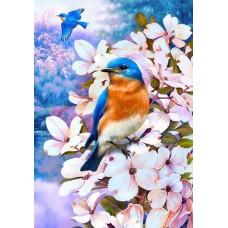 Картина стразами Птичка на цветущей ветке