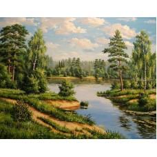 Картина стразами Речка в лесу