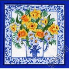 NP Набор для вышивания, подушка Нарциссы и голубой фаянс