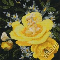 Набор для вышивания Фея на желтом пионе