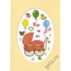 Набор для вышивания, открытка С рождением дочурки
