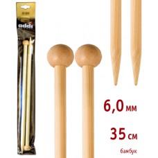 Спицы прямые, бамбук, №6, 35 см