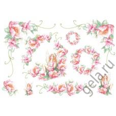 Бумага рисовая Фея и розовые цветы