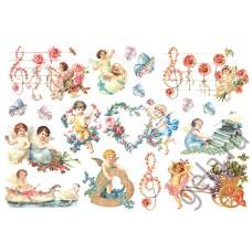 Бумага рисовая Херувимы с цветами
