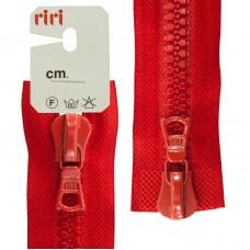 Молния riri тракторная разъёмная 2 замка, 8 мм, 75 cм, цвет 2407, красный