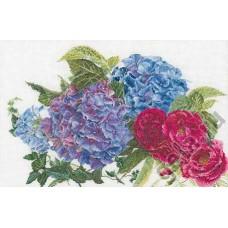 Набор для вышивания Гортензии и розы, канва лён 32 ct
